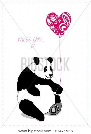 Valintine greeting card with lovely panda with pink heart0shaped baloon