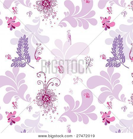 lovely seamless pattern with pink flowers, leaves and birds
