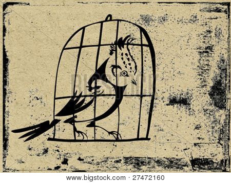 bird in hutch on grunge background, vector illustration