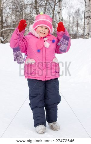 Girl In Winter Mittens.