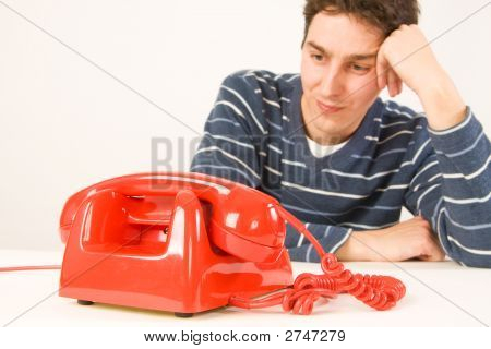 Man Waiting For A Call