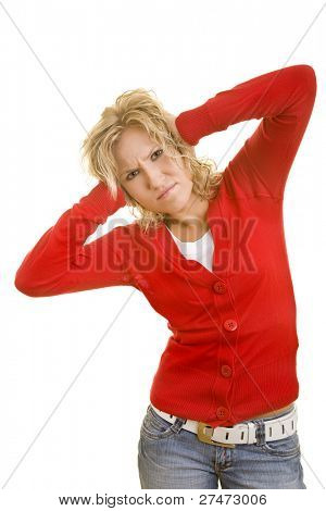 Blonde woman holding her ears