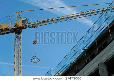 Topping-out ceremony with crane