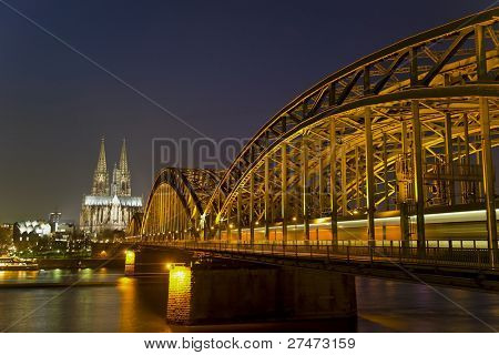 River Rhine, Bridge and Cologne Cathedral in Germany at Night