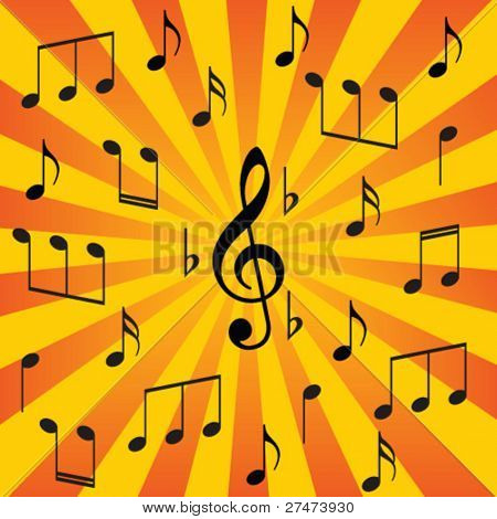 sunburst music notes background