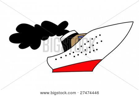 steamship drawing on white background, vector illustration