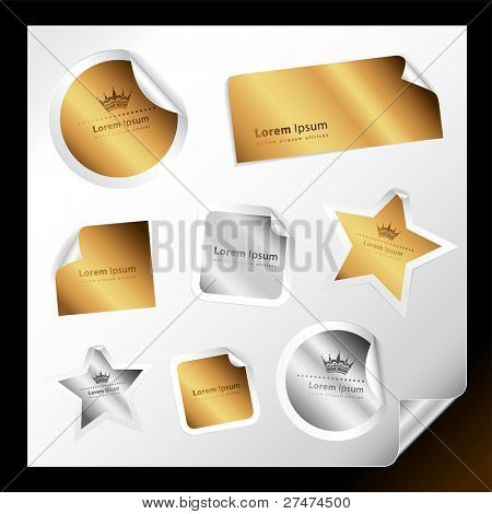 Set of various silver and gold stickers for your text