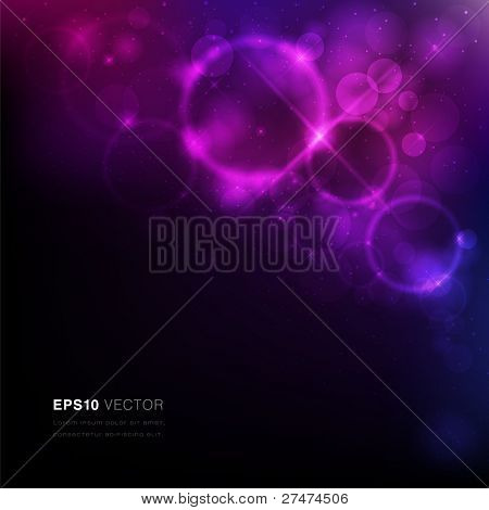 Vector EPS10 illustration of a nebula with stars and vibrant light