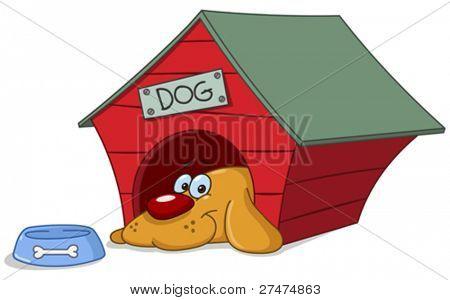 Cão sorridente em sua casinha de cachorro