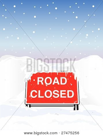 A Road Closed sign due to heavy snowfall. EPS10 vector format