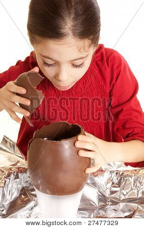 child with chocolate egg