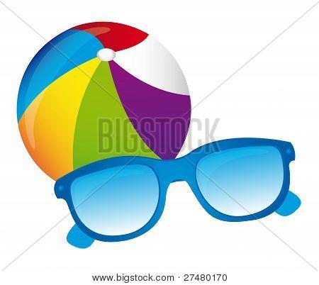 beachball and sunglasses