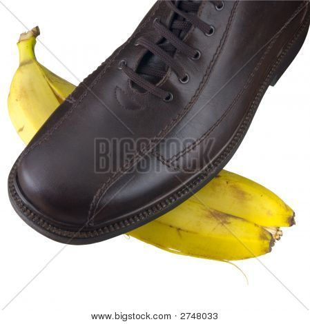 Isolated Shoe On Banana Peel