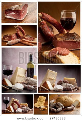 collection of italian cheese and salami
