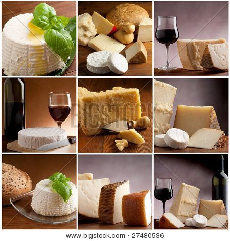 collection of italian cheese and wine