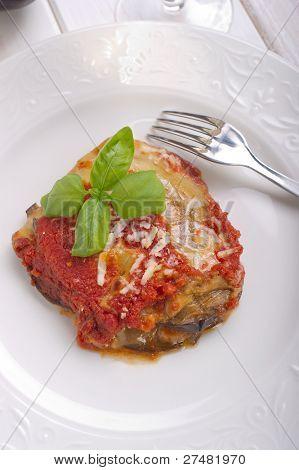 parmigiana eggplant on dish italian traditional recipe  close up