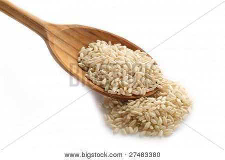 brown rice over the spoon