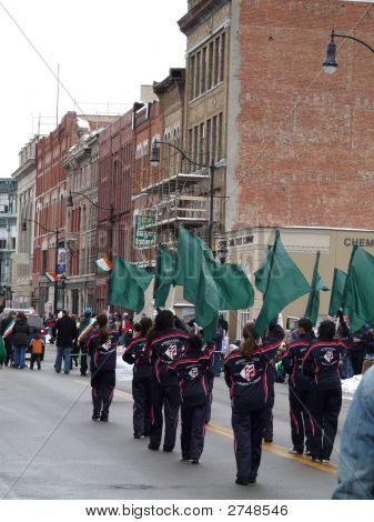 Marching Group With Green Flags