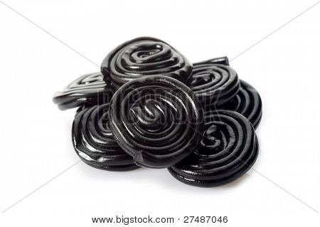 liquorice candy on white background