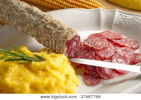 polenta and salami
