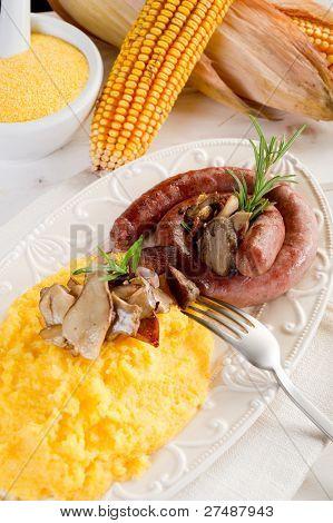 polenta sausage and edible mushroom
