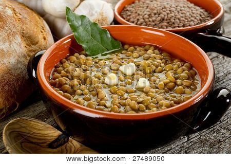 lentils soup on bowl