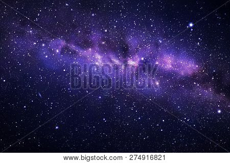 poster of Vector Illustration With Night Starry Sky And Milky Way. Space Dark Background With Fragment Of Our
