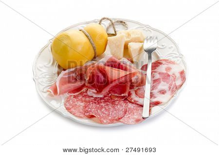 variety of italian salami and cheese