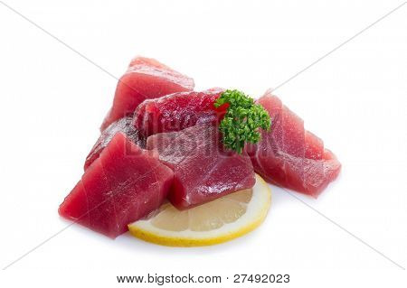 raw tuna on white background