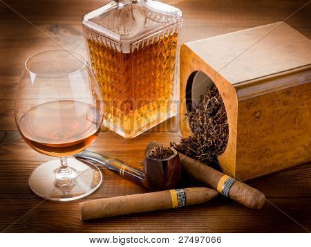 pipe, tobacco, cuban cigar and liquor