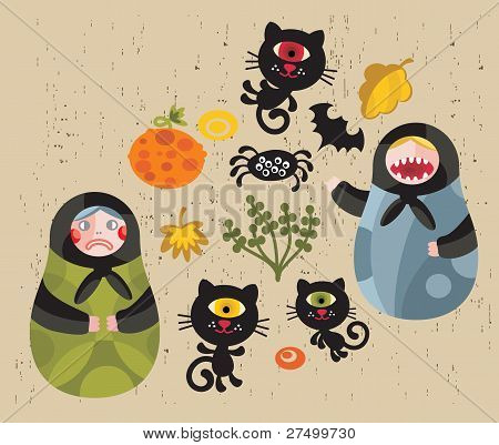 Halloween icons with matreshka and cats.