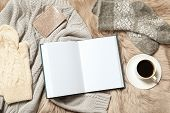 Flat Lay Composition With Book, Cup Of Coffee And Warm Clothes On Fuzzy Rug. Space For Text poster
