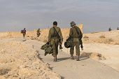 Soldiers Are Patrolling For Security Israeli Army Military Exercises In The Early Morning In The Rui poster