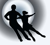 Spotlight Back Silhouette Ice Skater Couple Side By Side Turn
