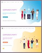 Corporate Party, Businessmen And Businesswomen Clubbing Together Vector. People Throwing Confetti, H poster