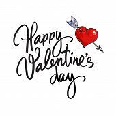 Happy Valentines Day Handwritten Lettering. Black Calligraphic Text With Red Heart Pierced By Arrow  poster