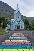Seydisfjordur City Church Close Up, Iceland Landmark. Icelandic Landscape poster