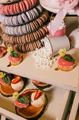 Candy Bar With Balls, Macaroon On Candy Bar, Candy Bar On Holiday, Candy Bar At The Wedding. Dessert poster
