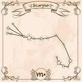 Scorpio Constellation Vintage Symbol. Schematic Representation Of The Signs Of The Zodiac. poster
