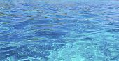 Clear Water Of Ocean. Background Of Water. Shining Blue Water. Over The Water. poster