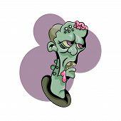 Vector Illustration Of Cartoon Zombie Head. Cartoon Zombie Head.running Cartoon Zombie. Vector Clip  poster