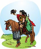 Illustration for fantasy fairy tale: 2 elfes riding on horse