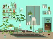 Living Room At Night. Urban Room Interior With Indoor Flowers, Chairs, Vase And Candles poster