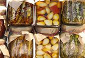 Glass Jars With Spicy Specialties Typical Of Southern Italian Regions Such As Anchovies And Garlic P poster