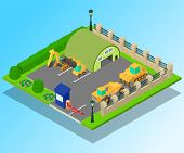Construction Machinery Concept Banner. Isometric Banner Of Construction Machinery Vector Concept For poster