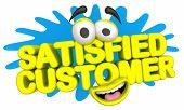 Satisfied Customer Cartoon Face Service Satisfaction 3d Illustration poster