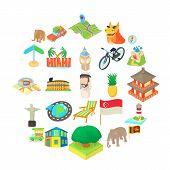 Holiday Landmark Icons Set. Cartoon Set Of 25 Holiday Landmark Vector Icons For Web Isolated On Whit poster