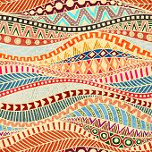 Seamless Wavy Pattern. Ethnic And Tribal Motifs. Colorful African Print For Textiles. Grunge Texture poster