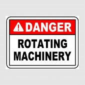 Plate: danger. Rotating Machinery. Sign: danger. Rotating Machinery On A Gray Background poster