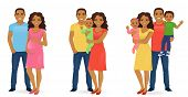 Set Of Family Stages Of Development. Husband With Pregnant Wife. Parents With Newborn Baby. Mother A poster